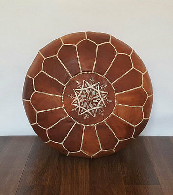 Moroccan Leather Ottoman Pouffe Pouf Footstool In Mid Tan • 55.07£