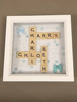 (a) Family Scrabble Art Picture Frame Personalised Family Names • 15.99£