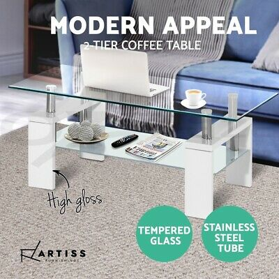 AU88.95 • Buy Artiss Coffee Table Tempered Glass Tables Stainless Steel Storage Shelf White