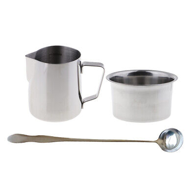 3x Candle Making Pot Pitcher Cup Double Boiler For Melting Wax & Soap With Spoon • 9.25£