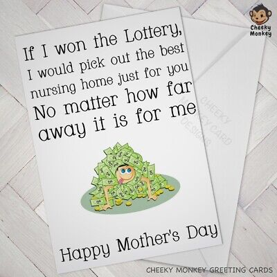 FUNNY MOTHERS DAY BIRTHDAY CARD Cheeky MUM LOVE Joke Humour Nursing Home Lottery • 2.85£