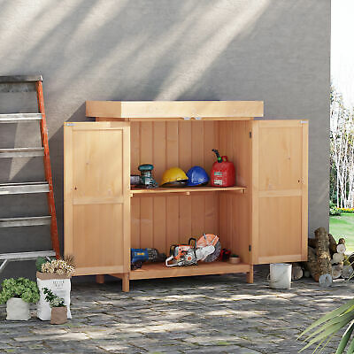 Outdoor Garden Storage Shed Tool Wooden Box Double Doors With Shelf Hinged Roof • 84.99£