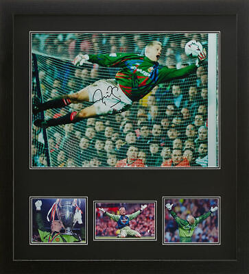 "FRAMED PETER SCHMEICHEL SIGNED 16""x20"" MANCHESTER UNITED FOOTBALL PHOTO PROOF • 109.99£"