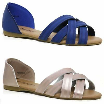 Ladies Gladiator Sandals New Womens Flat Strappy Fancy Summer Beach Shoes Size • 8.99£