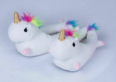 AU20.65 • Buy 1 Pair ADULT Unicorn Slippers Unisex S M L Soft Warm Plush Fluffy Cute Home Bed