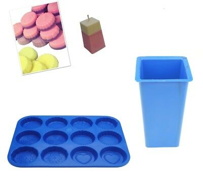 Set X 2, Rectangular Candle Mould & Wax Melt Tart Tray, Swirl, Heart Etc. S7754 • 7£
