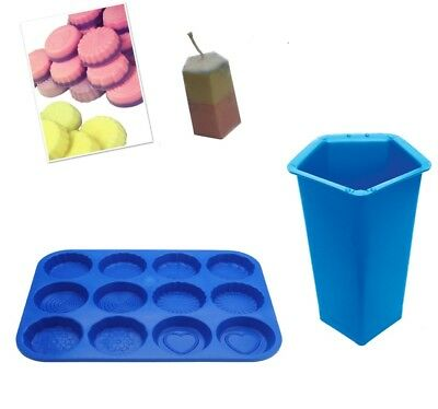 Set X 2, Pentagon Candle Mould Mold & Wax Melt Tart Tray, Swirl, Heart Etc S7753 • 7£