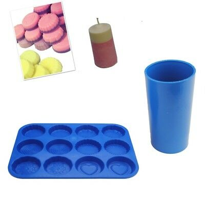 Set Of 2, Pillar Candle Mould Mold & Wax Melt Tart Tray, Swirl, Heart Etc. S7752 • 7£