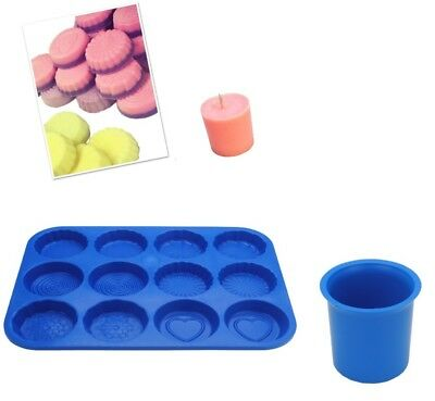Set Of 2, Votive Candle Mould & Wax Melt Tart Tray, Swirl, Heart Etc. S7751 • 6.50£