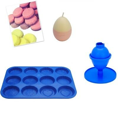 Set X 2, Egg Candle Mould With Base & Wax Melt Tart Tray, Swirl, Heart Etc S7762 • 7.20£