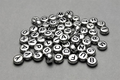 400 Silver Alphabet Letter Beads 6.5mm Acrylic DIY Jewellery Making Beads  • 2.99£
