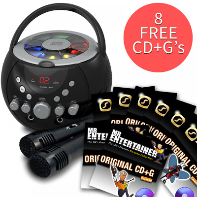 Boombox Karaoke Machine With Bluetooth CD CDG With 8 FREE CD+G Discs And 2 Mics • 65.99£