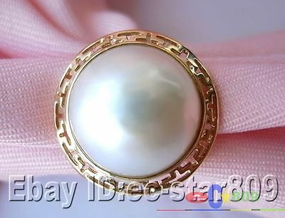 $199.90 • Buy 14kt  Real 20mm White South Sea Mabe Pearl Ring P787