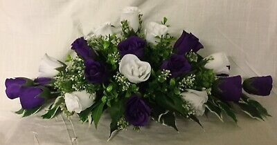 £19.99 • Buy Wedding Flowers Top Table Decoration Cadbury Purple & White Roses Gyp Many Cols