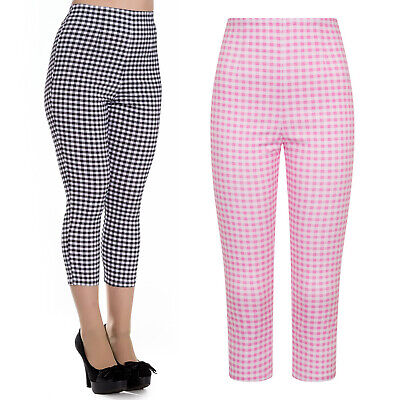 Hell Bunny Judy Gingham Retro Rockabilly Vintage Capri Pedal Pusher Trousers • 23.99£