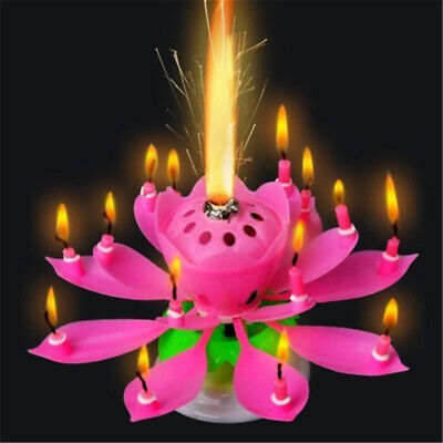 $ CDN5.20 • Buy Musical Charming Lotus Flower Rotating Happy Birthday Party Gift Lights Candle T