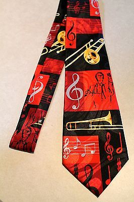 $11.99 • Buy   Trombone's / Musical Notes On A Black Polyester Neck Tie !Harris 58'' L 3.8 W
