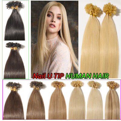 $20.90 • Buy 7A Nail U Tip Remy Human Hair Extensions Pre Bonded Keratin Fusion 100g/100S LC2