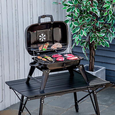$65.99 • Buy Portable Tabletop Charcoal Grill BBQ Camping Picnic Cooker Air Vent Outdoor