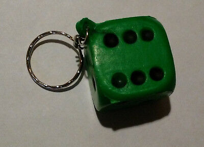 Key Chain--Green Foam Dice (Dice Is About 1 1/8 Inches) • 5.50$