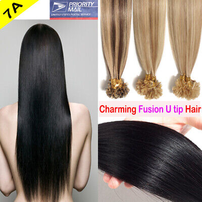 $29.37 • Buy 8A 1G Pre Bonded Keratin Fusion Nail U Tip Glue Remy Human Hair Extensions C21