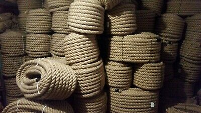 36mm Thick Natural Jute Rope 3 Strand Twisted Cord Decking Garden Boat Camping • 36.99£