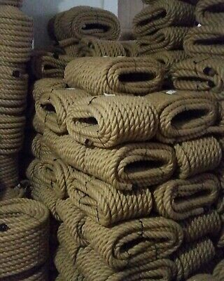 20mm Thick Natural Jute Hessian Rope Twisted Cord Decking Garden Boat Camping • 14.29£