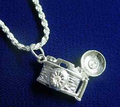 COOL Old Camera Flash Pendant Charm Sterling Silver Jewelry • 30.25£