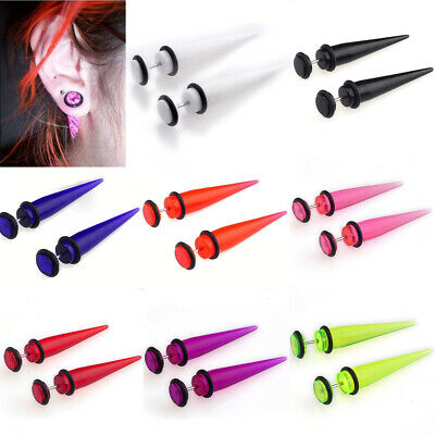 2pcs Fake Ear Plug Stretcher Earring Gauges Taper Spike Cheater Expander Earings • 0.99£