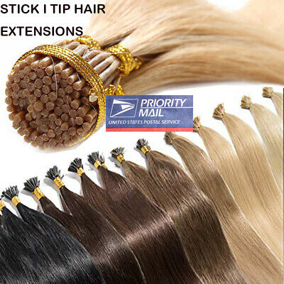 $24.99 • Buy Stick I Tip Glue Pre-bonded Keratin 100% Remy Human Hair Extensions CLEARANCE LC