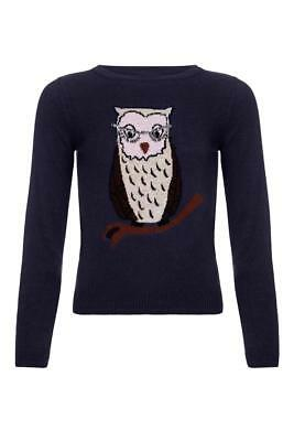 Yumi Sequin Owl Jumper Navy Age 7/8 Years Rrp £36 DH081 RR 12 • 14.57£