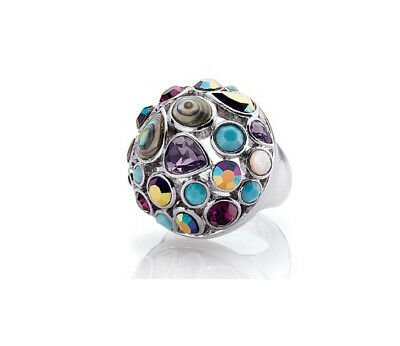 $ CDN32.54 • Buy Lia Sophia Fireworks Ring W/Cut Crystals, Resin, Abalone, Mother Of Pearl - Sz 8