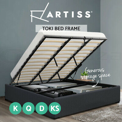 AU274 • Buy Artiss Bed Frame Gas Lift King Single Double Queen Size Base With Storage