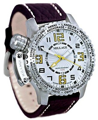 $6950 • Buy Millage Moscow Collection WHT/YLW Dial With Brown Genuine Buffalo Leather Strap