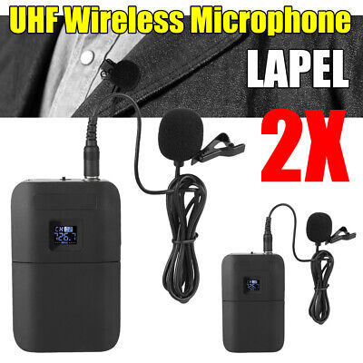 Wireless UHF Lapel Microphone Headset Clip Transmitter Receiver Mic Set System • 10.73£