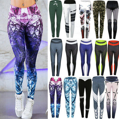 AU14.79 • Buy Womens Sports Yoga Pants Printed Leggings Gym Sports Strech Workout Trousers A12