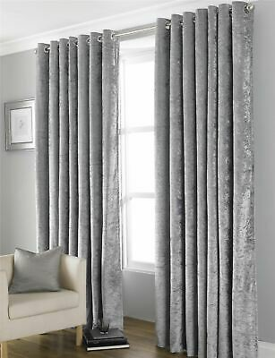 Blackout Crushed Velvet Curtains, Fully Lined Ring Top Eyelet Curtain Pair • 29.95£