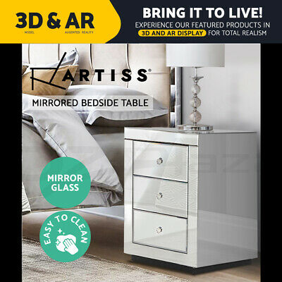 AU166.95 • Buy Artiss Bedside Tables Drawers Mirrored Furniture Side Table Cabinet Nightstand