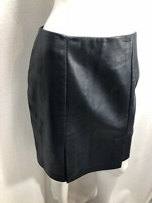 $ CDN79.99 • Buy Danier Leather Skirt Navy Blue Lined Made In Canada Size 8 Double Slit 5