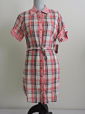 £22.55 • Buy Dereon By Beyonce Plaid Dress Pink Western Lightweight Button Down Womens XL NWT