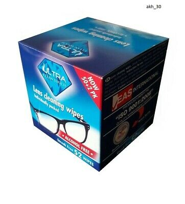 Ultra Clean Touch Lens Wipes, Glasses Cleaning Wipe 52 Wipes Individually Packed • 3.35£