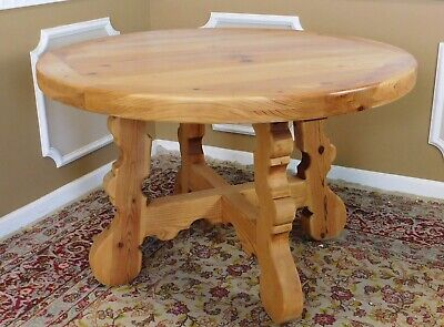 $650 • Buy Rustic & Primitive 48  Round Knotty Pine Tavern Dining Room Table 1980s