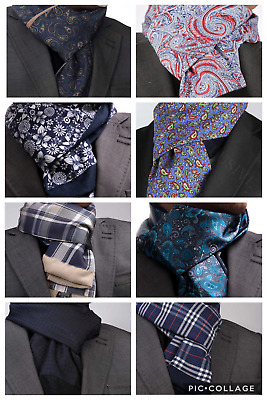 $20.84 • Buy BLUE CASHMERE & SILK ITALIAN DESIGNER DOUBLE SIDED SCARF Various Patterns