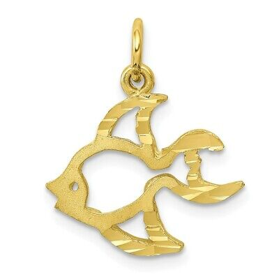10K Yellow Gold Fish Charm Pendant • 72.97$