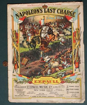 $11.99 • Buy 1910 E.T.Paull Napoleon's Last Charge March Sheet Music-Beautiful Graphic Cover*