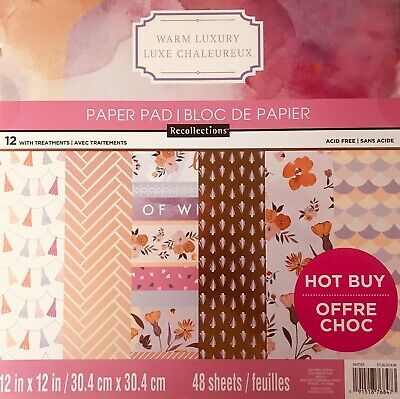 $16.99 • Buy ~warm Luxury~12x12 Scrapbooking Cardstock Paper Pad 48 Lot~recollections~new
