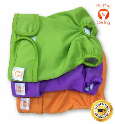 Petting Is Caring Washable Reusable Dog Nappy Diapers Sanitary Pants (Pack Of 3) • 8.99£