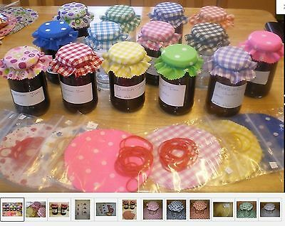 Gingham Jam Covers Fabric 10 Colours Avalible FREE BANDS & JAR LABELS X 20 • 3.80£