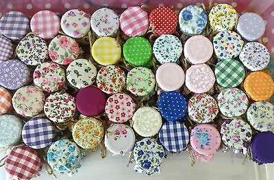 JAM Tops FABRIC VINTAGE LOOK Wedding Lucky Dip To Fit  1oz 1.5oz 42g Jars X 50 • 12£