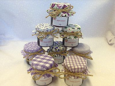 JAM Covers  FABRIC VINTAGE Wedding LILAC Mix Will Fit 1oz 1.5oz 42g Jars X 50 • 12£